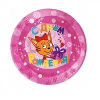 """Бумажные тарелки """"Три Кота"""", 7дюйм, Розовый, 6шт"""