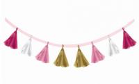 Гирлянда праздничная из кисточек розовая