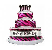 """Фольгированый шар """"Торт со свечками"""" (трехслойный), Розовый,36""""/91 см"""