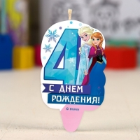"""Свеча в торт цифра Дисней 4 """"С Днем Рождения"""", Холодное сердце"""