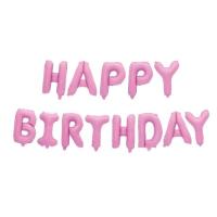 """Шар фольгированный 16"""" """"С днём рождения"""", заглавные буквы, цвет розовый"""