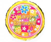 """Фольгированный шар """"Happy Birthday Цветы"""", круг 18""""/46 см"""