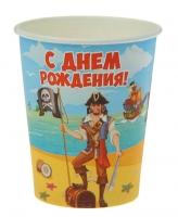 """Стакан бумажный """"С днем рождения"""" пират (250 мл)"""