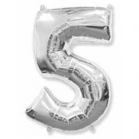 Фольгированный шар (40»/102 см) Цифра, 5, Серебро