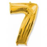"""Фольгированный шар (40""""/102 см) Цифра, 7,Золото"""