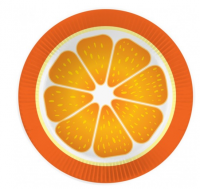 Бумажные тарелки Апельсин, 6 шт, 18 см