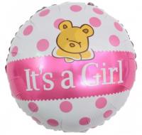 """Фольгированный шар """"С Рождением Малышки!"""" (плюшевый мишка), Розовый,"""