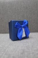 Коробка синяя с бантом