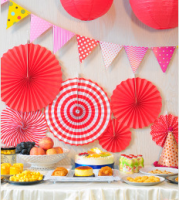 """Бумажный веер """"Цветочный декор"""", красный (набор 6 шт)"""