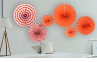 """Бумажный веер """"Цветочный декор"""", оранжевый (набор 6 шт)"""