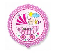 """Фольгированный шар""""Детская коляска для девочки"""" Круг 18"""""""