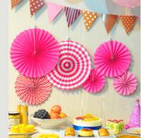 """Бумажный веер """"Цветочный декор"""", розовый (набор 6 шт)"""