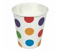 """Бумажные стаканчики """"Разноцветные точки"""", 180мл, 6шт"""