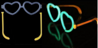 Светящиеся очки сердечки + 2 световые палочки