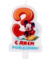 """Свеча в торт """"С днем рождения"""", цифра 3, Микки Маус"""
