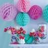 Бумажные шары соты розовый цвет 20 см