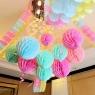 Бумажные шары соты розовый цвет 15 см