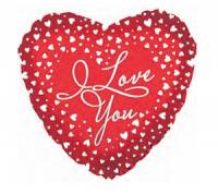 "Фольгированный шар Сердце, Я люблю тебя (водопад сердец) (18""/46 см)"