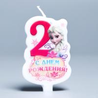 """Свеча в торт Дисней """"С днем рождения"""" цифра 2 Холодное сердце"""