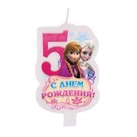 """Свеча в торт """"С днем рождения"""", цифра 5, Холодное сердце"""