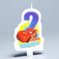 "Свеча в торт Дисней ""С днем рождения"" цифра 2 Тачки"