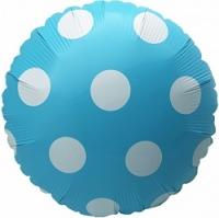 """Фольгированный шар Круг Большие точки, голубой 18"""""""