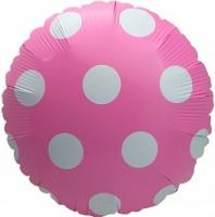 """Фольгированный шар Круг Большие точки, розовый 18"""""""