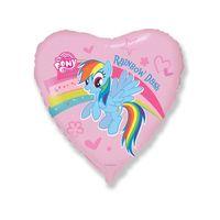 """Шар фольгированный 18"""" «Пони, радуга», сердце"""