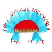 Карнавальный головной убор «Индеец», красно-синее перо