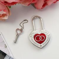 Замок свадебный с заливкой с ключом «Вместе навсегда», 5,1 х 7 см