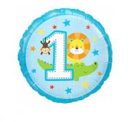 """Фольгированный шар """"Первый День рождения мальчика,"""", круг 18""""/46 см"""