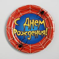 Тарелка бумажная «С днём рождения», паутина, 18 см