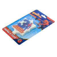 """Свеча в торт 3 """"С Днем Рождения"""", Человек-паук, 5 х 8 см"""