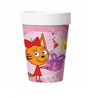 "Бумажные стаканы ""Три Кота"", 255 мл, Розовый, 6шт"