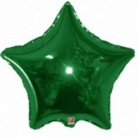 """Фольгированный шар Звезда Металл Зеленый 18"""""""