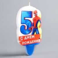 """Свеча в торт 5 """"С Днем Рождения"""", Человек-паук"""