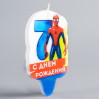 """Свеча в торт 7 """"С Днем Рождения"""", Человек-паук"""
