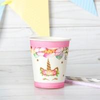 """Стакан бумажный """"Единорог и цветы"""", набор 6 шт., 220 мл, цвет розовый"""