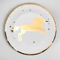 Тарелка бумажная «Единорог», набор 6 шт., золотое тиснение