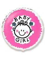Шар (18''/46 см) Круг, Малышка-девочка (облака), Розовый, 1 шт.