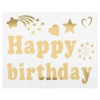 Наклейка на полимерные шары «С днём рождения», печатные буквы, цвет золотой