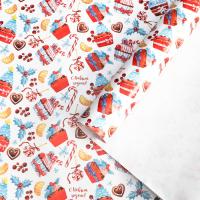 Бумага упаковочная глянцевая «Новогодние сладости», 70 × 100 см