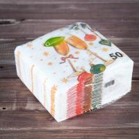 """Новогодние салфетки бумажные """"Гармония цвета многоцветие. Шампанское"""", 24*24 см, 50 листов"""