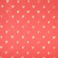 Бумага крафтовая «Сердечки», фон красный, 50 × 70 см
