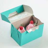 Коробка на 2 капкейка, мятная, 10 х 16 х 10 см