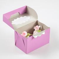 Коробка на 2 капкейка, сиреневая, 10 х 16 х 10 см