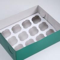 Упаковка на 12 капкейков, изумрудная, 32,5 х 25,5 х 10 см