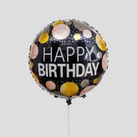 """Шар фольгированный 18"""" «С днём рождения», круги, цвет чёрный"""