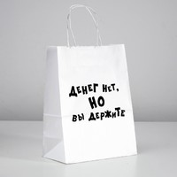 Пакет подарочный с приколами «Денег нет, но вы держите», 24 х 14 х 30 см