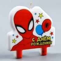"""Свеча в торт """"С Днем Рождения!"""", Человек-паук, 8×8 см"""